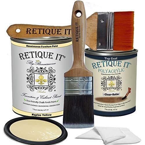Retique It Chalk Furniture Paint by Renaissance DIY, Poly Kit, 23 Naples Yellow, 32 Ounces