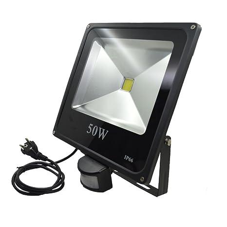ZHMA LED Foco Proyector 50W, PIR Sensor de Movimiento, Luz de Inundación al Aire