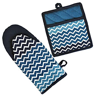 DII 100% Cotton, Machine Washable, Everyday Kitchen Basic, Chevron Printed Oven Mitt and Potholder Gift Set, Nautical Blue