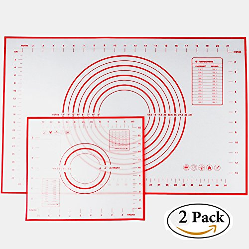 Silicone Baking Mat Set of 2, Non-stick Cooking Mat/Macaron Mat/Dough Rolling Mat with Measurements, Large 24'' x 16'' Small 11.41'' x 10.23'' by ETIMER