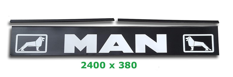 Faldón trasero MAN LKW de 2400 x 380 mm + rieles de fijación para remolques de camiones: Amazon.es: Coche y moto