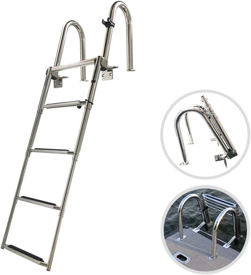 WGE Escalera para Barco 4 Pasos Plegable Escalera de Piscina, Telescópico Escalera de Baño Escalera de Barco con Paso Extra Ancho, Acero Inoxidable Escalera de Muelle, 550 Libras de Capacidad: Amazon.es: Hogar