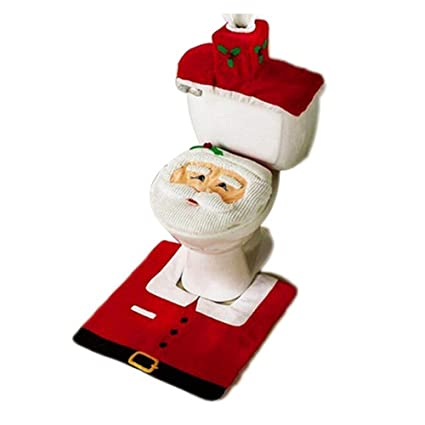 Copri Wc Babbo Natale.Bricok Completo Da Bagno Natalizio Con Copriwater Di Babbo Natale Tappetino E Portarotolo