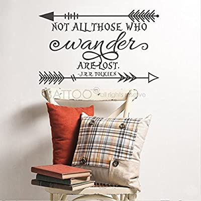 BATTOO Not All Those Who Wander Are Lost J.R.R. Tolkien Vinyl Wall Decal Sticker Arrow Wall Decals Inspirational Quote Home Interior Decor