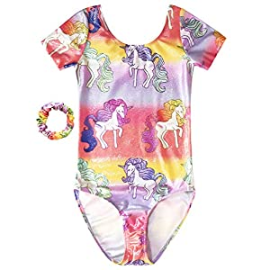 Gymnastics Leotard for Girl Unicorn Dance Clothe Ballet Colorful Ribbons