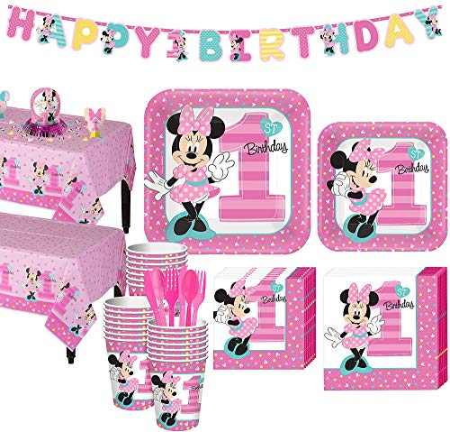 Party City 1st Birthday Minnie Mouse Party Kit for 32 Guests, Includes Table Covers, Table Decorating Kit and Banners