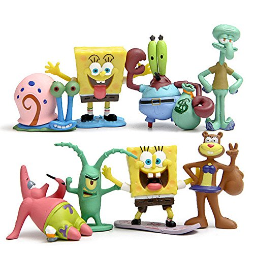 SpongeBob SquarePants Patrick Sandy Gary Sheldon 8PCS Action Figure Toy Kid Gift by SpongeBob SquarePants Patrick Sandy Gary Sheldon 8PCS Action