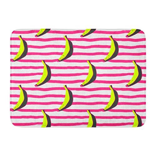 "Emvency Doormats Bath Rugs Outdoor/Indoor Door Mat Pink Warhol Doodle Bananas on Stripy Yellow Andy Pattern Pop Leaf Bathroom Decor Rug Bath Mat 16"" x 24"""