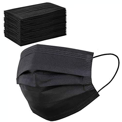 50 Pcs Black Face Masks Breathable Dust Mask Stretchable Elastic Ear Loops – Black Face Mask