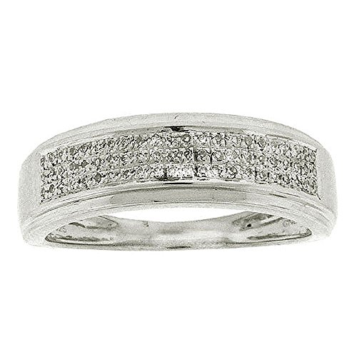 0.20 Carat (ctw) Sterling Silver White Diamond Men's Hip Hop Micro Pave Wedding Band by DazzlingRock Collection