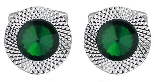 - Emerald Green Swarovski Crystal Gem Stone Mens Gift Cuff links by CUFFLINKS DIRECT (Cufflinks With Gift Bag)