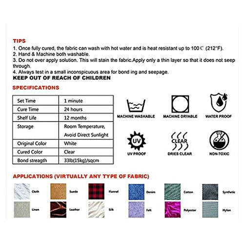 MiMiey Textilkleber Fix, Stoffkleber, Bügelfester Textilkleber Textilkleber, Schnell Trocknend und Hitzebeständig Nähkleber Fast Tack Kein Nähen zum Ausbessern von Kleidung (1)