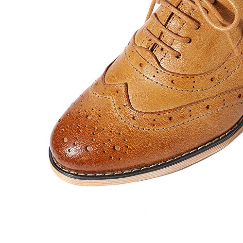 Pictures of Mona Flying Leather Perforated Lace-up Oxfords 5