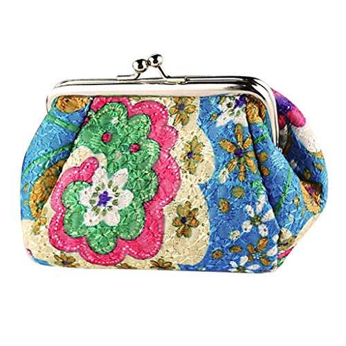 Purse, Mikey Store Vintage Flower Small Wallet Hasp Purse Clutch Bag (Blue) from Mikey Store Bags