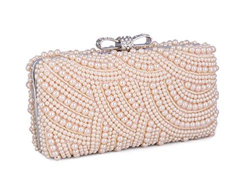 Adoptfade Bolso Clutch Elegante De Estilo Suntuoso Con Perla Para Señoras Champán