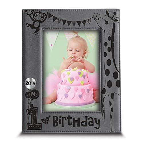 BELLA BUSTA- My First Birthday 2019 Picture Frame- 1st Birthday Gift- Baby's First Birthday Frame- Engraved Leather Picture Frame (4