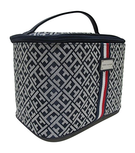 Tommy Hilfiger Makeup Cosmetic Bag Train Case Fabric (Navy/Red/White Monogram)