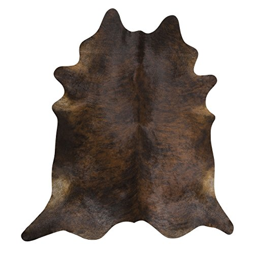 RODEO Dark Brindle Cowhide Rug Hair on Cowhide Leather Rug Great Decoration Essential Western Decor Must Have ()