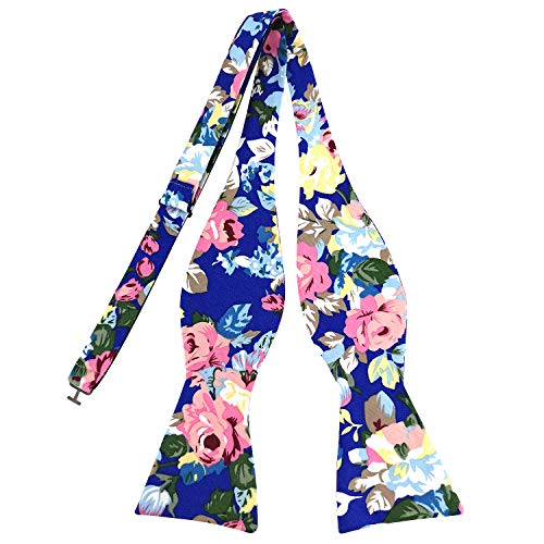 PenSee Mens Self Bow Ties Floral Pattern Printed Cotton Bowtie - Various Styles (Rose - Sapphire Blue) - Pattern Polyester Ties