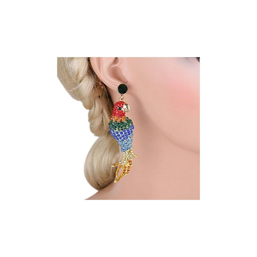 EVER FAITH Women's Austrian Crystal Art Deco Parrot Pet Bird Pierced Dangle Earrings Gold Tone