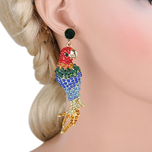 EVER FAITH Women's Austrian Crystal Art Deco Parrot Pet Bird Pierced Dangle Earrings Gold Tone