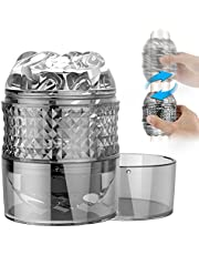 Male Masturbators,Acmeros Portable Pleasure Stroker Open-Ended Detachable Pocket Pussy Male Masturbator Cup with Crystal Spiral Ribbed Tunnel,Blowjob Male Sex Toys for Men and Couples