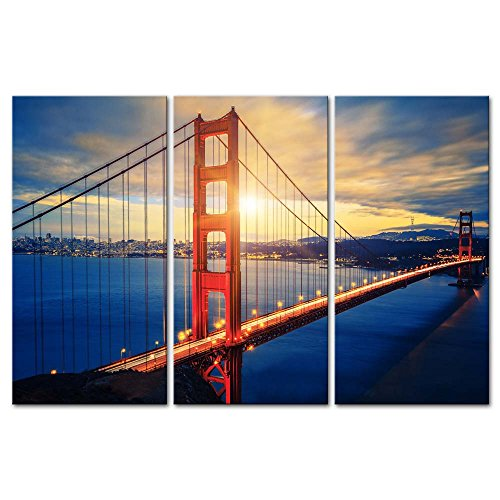 (3 Pieces Modern Canvas Painting Wall Art The Picture for Home Decoration Famous Golden Gate Bridge at Sunrise San Francisco Cityscape Bridge Landscape Print On Canvas Giclee Artwork for Wall Decor)