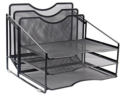 EasyPAG Mesh Desk File Organizer Sorter with 3 Horizontal and 2 Upright Black by EasyPag