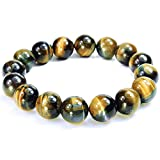 ONE ION Extra Power 12mm Golden Blue Tiger Eye Bracelet - 3 sizes - With Jewel Box (7 Inches)
