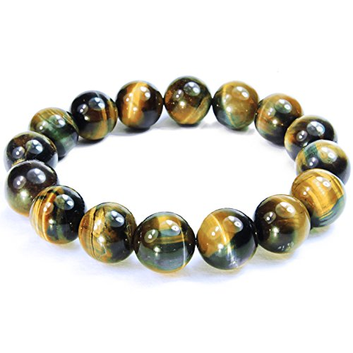 ONE ION Extra Power 12mm Golden Blue Tiger Eye Bracelet - 3 sizes - With Jewel Box (7 ()