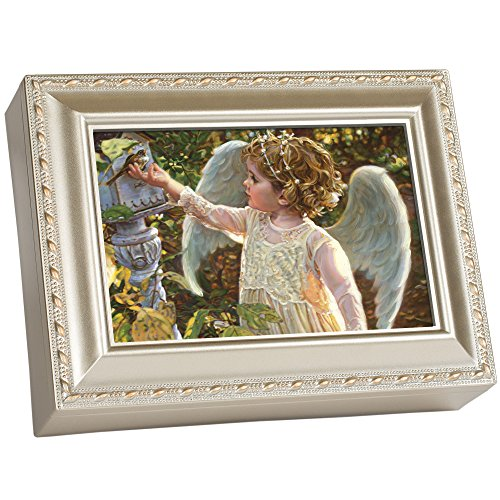 Angel in The Garden Champagne Silver Music Box Plays Light Up My Life
