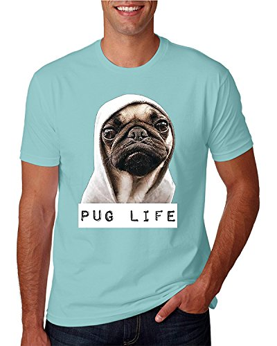 nisex Pug Life Funny Thug Life T-shirt Light Blue MEDIUM ()