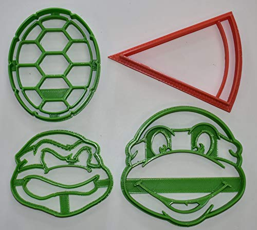 TEENAGE MUTANT NINJA TURTLES TMNT KIDS MOVIE CARTOON CHARACTERS SHELL PIZZA SET OF 4 SPECIAL OCCASION COOKIE CUTTERS BAKING TOOL 3D PRINTED MADE IN USA PR1072 -