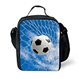 Fashionable Soccer 3D Print Lunch Bag for Kids Lunch Box 9.8x7.5'' Storage Bag Children Boys Girls Portable Food Drink Container Bag with Insulated Lining Portable Outdoor Cooler Bag