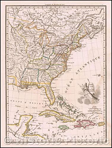 Malte Grande - Historic Map   Etats Unis et Grandes Antiles/US and Great Antiles, 1812, Conrad Malte-Brun   Vintage Wall Art 44in x 59in