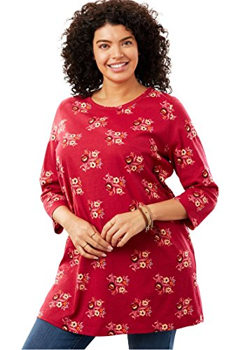 Womens Plus Size Three Quarter Sleeve Perfect Print Tunic Cherry Floral 3X