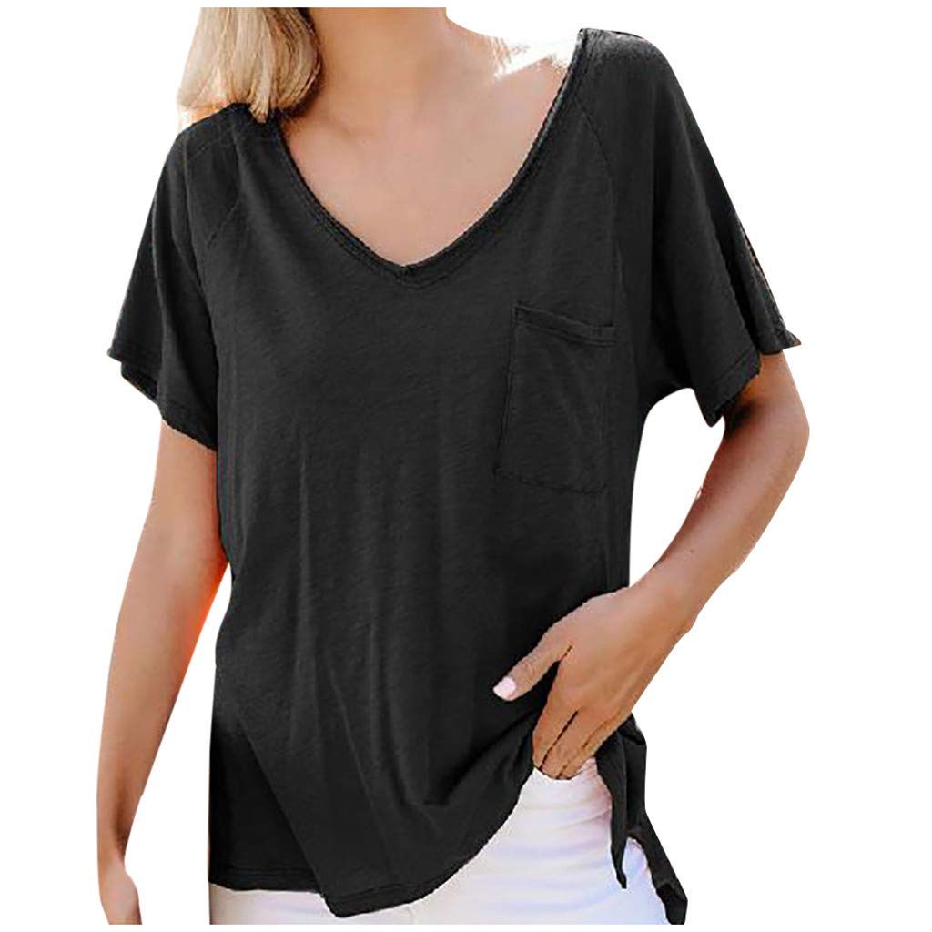 Sunday88 Womens Short Sleeve T-Shirt Ladies V-Neck Solid Tee Shirts Summer Casual Tunic Blouses Tops