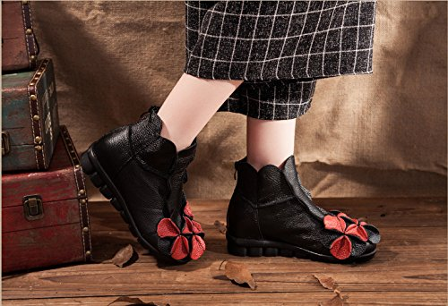 Mrs Duberess Women's Comfortable Round Topline With Unique Flower Handmade Leather Boot For Winter or Fall Black YTqim1uIZ
