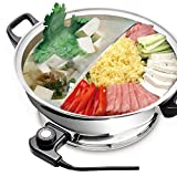 YONGXIN Electric Cooking Fondue/Pot with Divider & Glass Lid 30CM