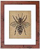 Fiber and Water Honey Bee Burlap Wall Art Decor, 8″ x 10″ Art, 11″ x 14″, Rustic Walnut Review