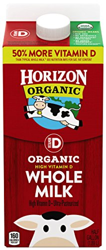 1/2 Gallon Milk - Horizon Organic, Whole Milk, Ultra Pasteurized, Half Gallon 64 oz, Organic Whole Milk, 50% More Vitamin D than Typical Whole Milk