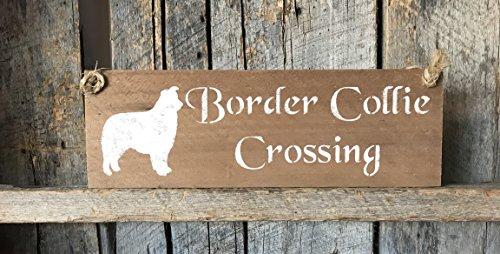 Border Collie Crossing Pallet Wood Plaque