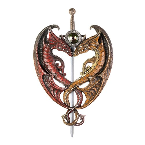 Smart Living Company Home Decor Wall Art Family, Craft Dueling Dragons Sword European Mount Plaques