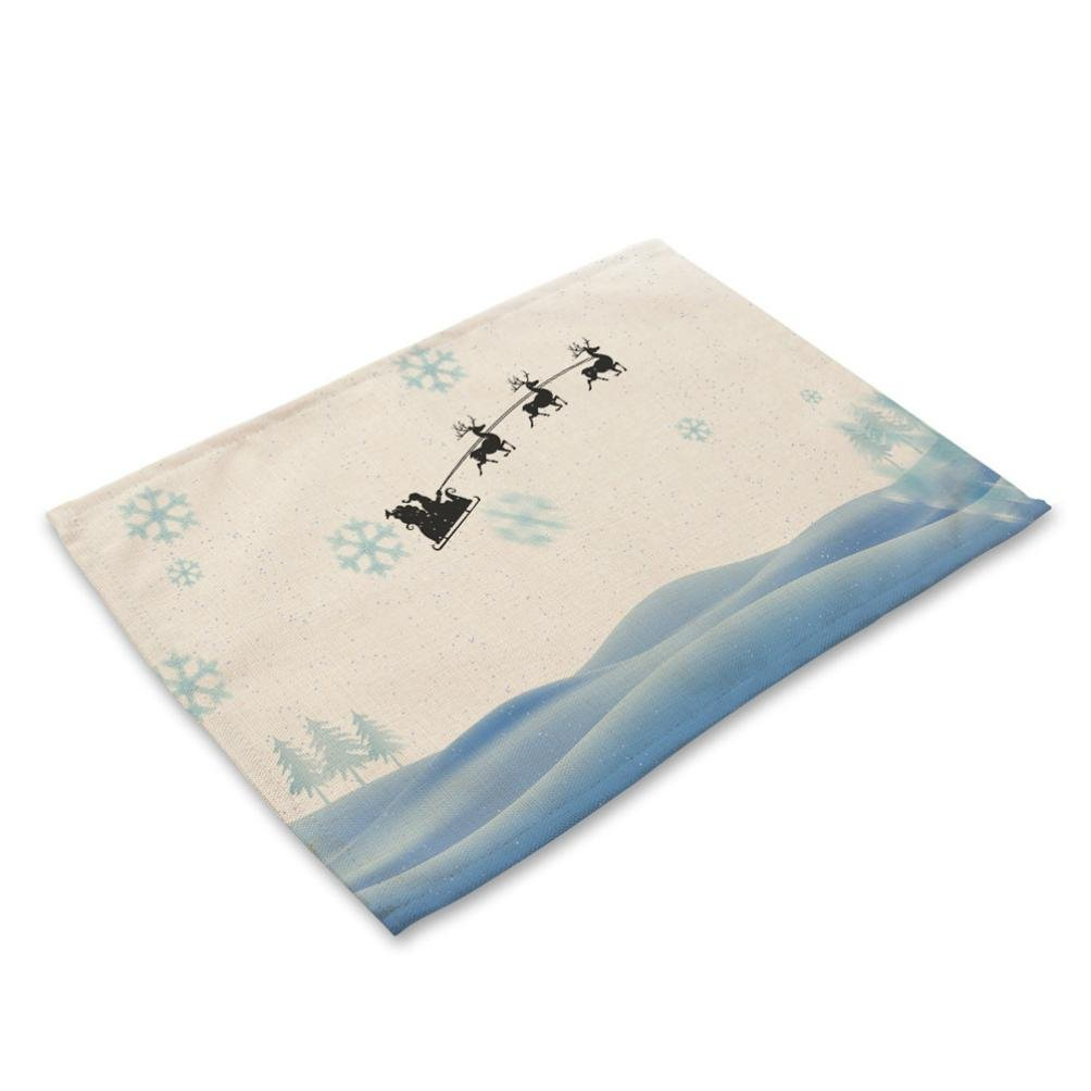 Iuhan Merry Christmas Bowl Fork Placemat Mat Decoration Home Party Dining Table (I)