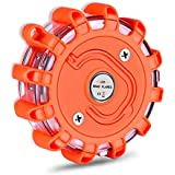 Tobfit LED Road Flares Emergency Lights Roadside Safety Beacon Disc Flashing Warning Flare Kit with Magnetic Base & Hook for Car Truck Boats | 9 Flash Modes (Batteries Not Included) (1)