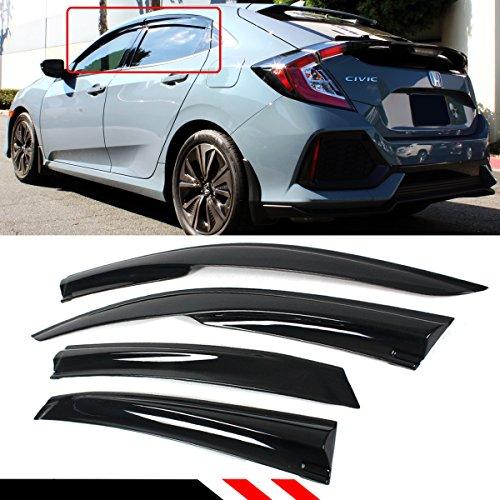 Cuztom Tuning Fits for 2016-2019 Honda Civic FK4 FK7 FK8 5DR Hatchback LX EX Touring Sport Type-R 3D Wavy JDM Mug Style Window Visor Rain Guard Deflector