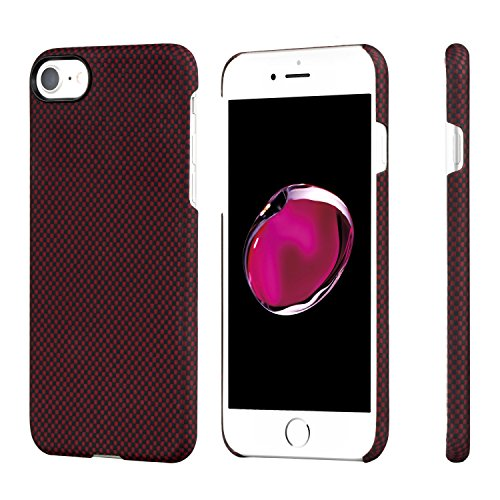 PITAKA Slim Case Compatible with iPhone 8/7 4.7, Aramid Fiber [Real Body Armor Material] Phone Case,Minimalist Strongest Durable Snugly Fit Snap-on Case -Black/Red