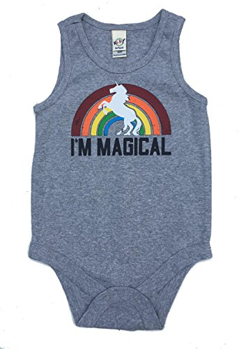 SoRock Baby Magical Rainbow Unicorn Onesie Snapsuit (12 Month, Heather Grey)