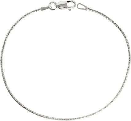 Made in Italy Thin 0.8mm Sterling Silver Nickel Free 8 Sided Snake link Chain