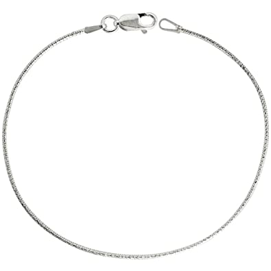 Amazon.com: Sterling Silver Snake Chain Necklace 1mm Thin Diamond ...